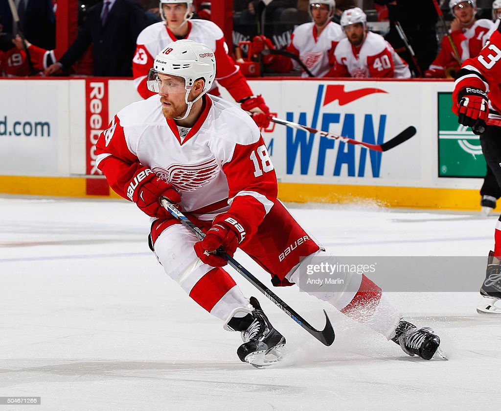 Joakim Andersson of the Detroit Red Wings skates during the game against the New Jersey Devils at the Prudential Center on January 4 2016 in Newark...