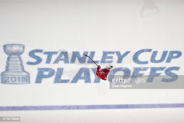 Joakim Andersson of the Detroit Red Wings skates in warmups against the Tampa Bay Lightning before Game Six of the Eastern Conference Quarterfinals...