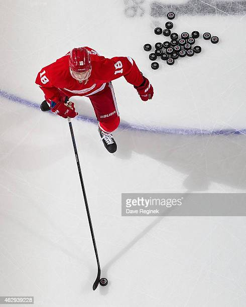 Joakim Andersson of the Detroit Red Wings skates in warmups prior to the NHL game against the New York Islanders on January 31 2015 at Joe Louis...