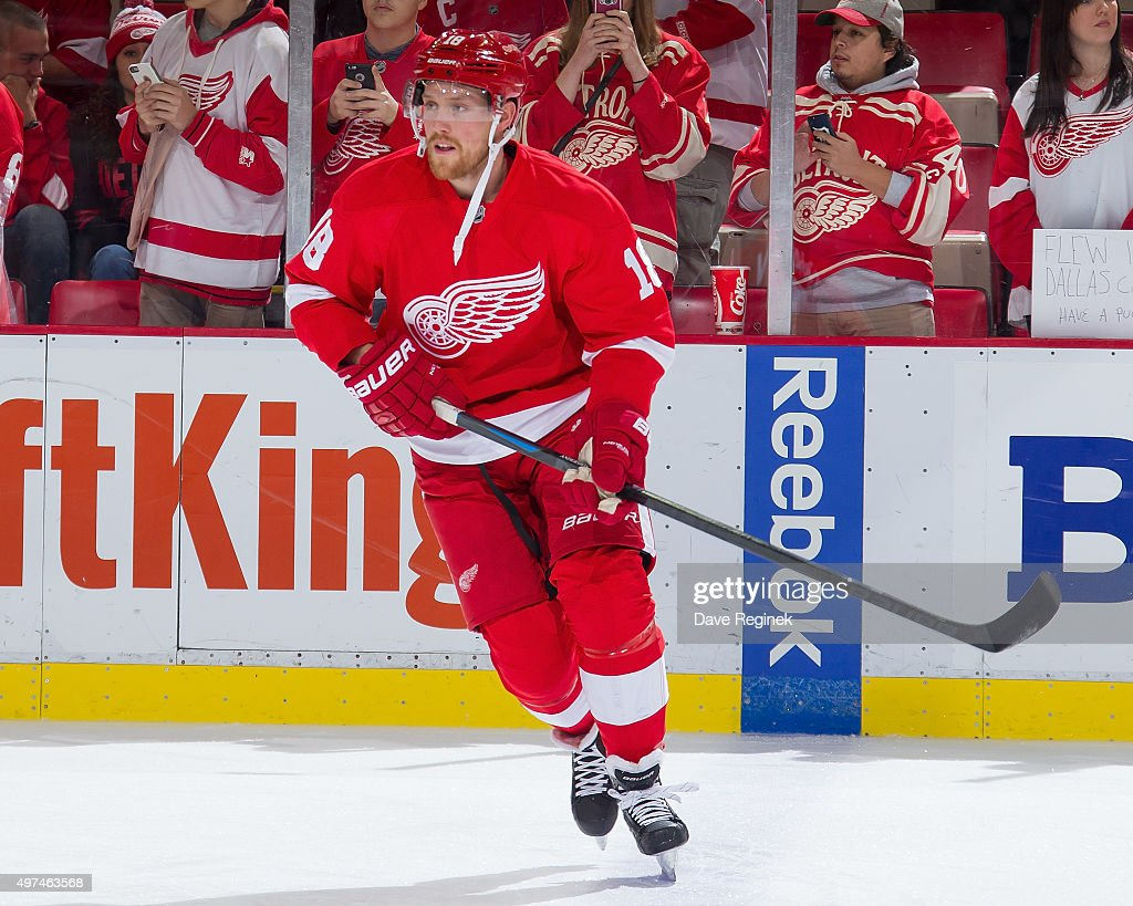 Joakim Andersson of the Detroit Red Wings skates in warmups prior to the NHL game against the Washington Capitals at Joe Louis Arena on November 10...