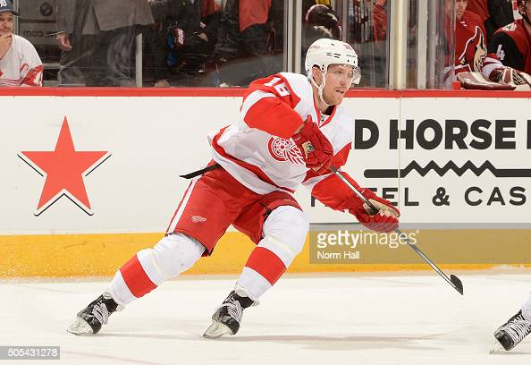Joakim Andersson of the Detroit Red Wings skates up ice against the Arizona Coyotes at Gila River Arena on January 14 2016 in Glendale Arizona