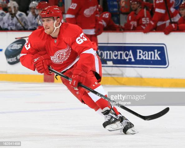 Joakim Andersson of the Detroit Red Wings skates up ice during a NHL game against the Vancouver Canucks at Joe Louis Arena on February 24 2013 in...