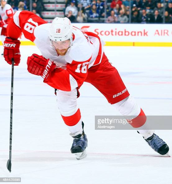 Joakim Andersson of the Detroit Red Wings skates up the ice during NHL action against the Toronto Maple Leafs at the Air Canada Centre March 29 2014...