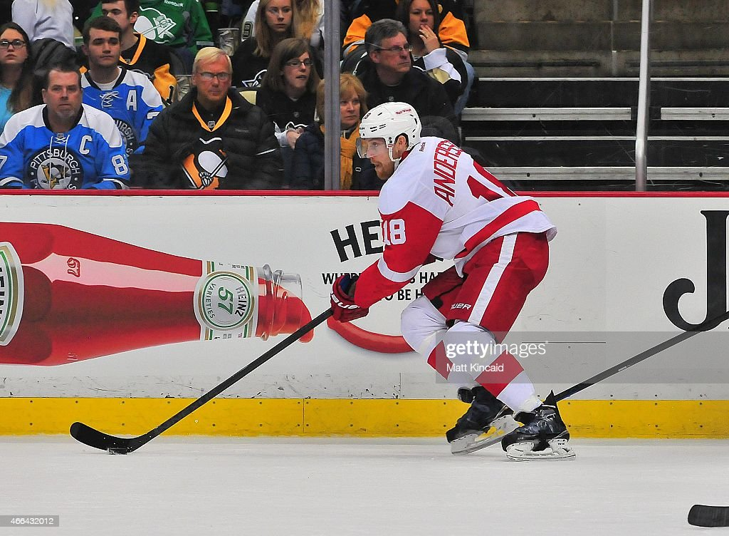 Joakim Andersson of the Detroit Red Wings skates with the puck against the Pittsburgh Penguins at Consol Energy Center on March 15 2015 in Pittsburgh...