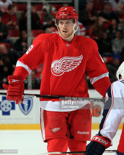 Joakim Andersson of the Detroit Red Wings waits for the faceoff during a NHL game against the Columbus Blue Jackets at Joe Louis Arena on February 21...