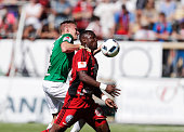 Joakim Karlsson of Jonkopings Sodra and Alhaji Gero of Ostersunds FK competes for the ball during the allsvenskan match between Ostersunds FK and...