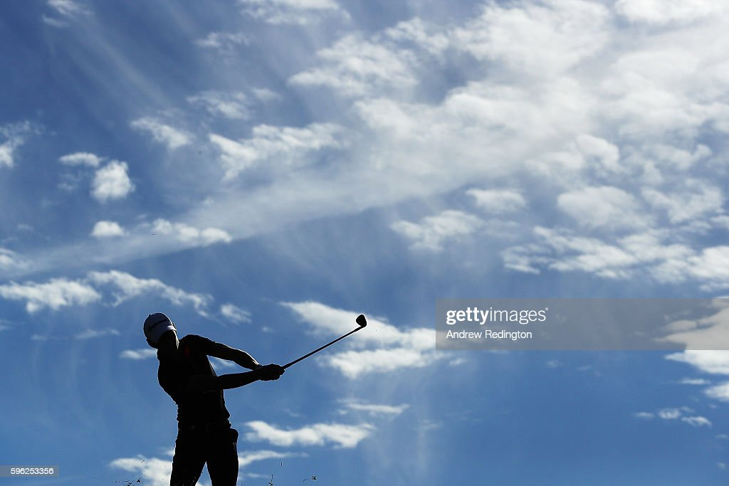 Joakim Lagergren of Sweden hits his second shot on the 17th hole during the third round of Made in Denmark at Himmerland Golf & Spa Resort on August 27, 2016 in Aalborg, Denmark.