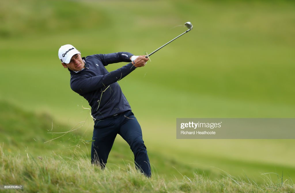 Joakim Lagergren of Sweden in action during day two of the 2017 Alfred Dunhill Championship at Kingsbarns on October 6, 2017 in St Andrews, Scotland.