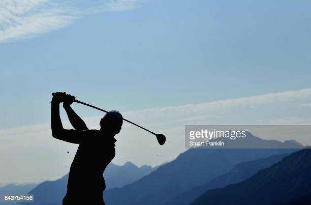Joakim Lagergren of Sweden on the 14th during day one of the 2017 Omega European Masters at CranssurSierre Golf Club on September 7 2017 in...