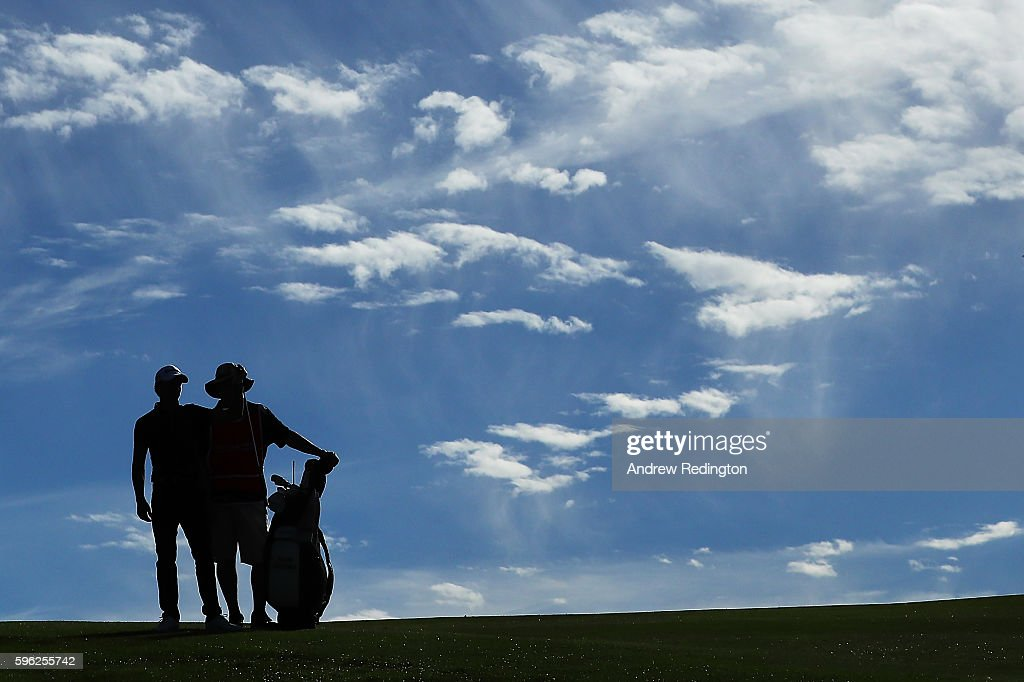 Joakim Lagergren of Sweden waits with his caddie on the 17th hole during the third round of Made in Denmark at Himmerland Golf & Spa Resort on August 27, 2016 in Aalborg, Denmark.