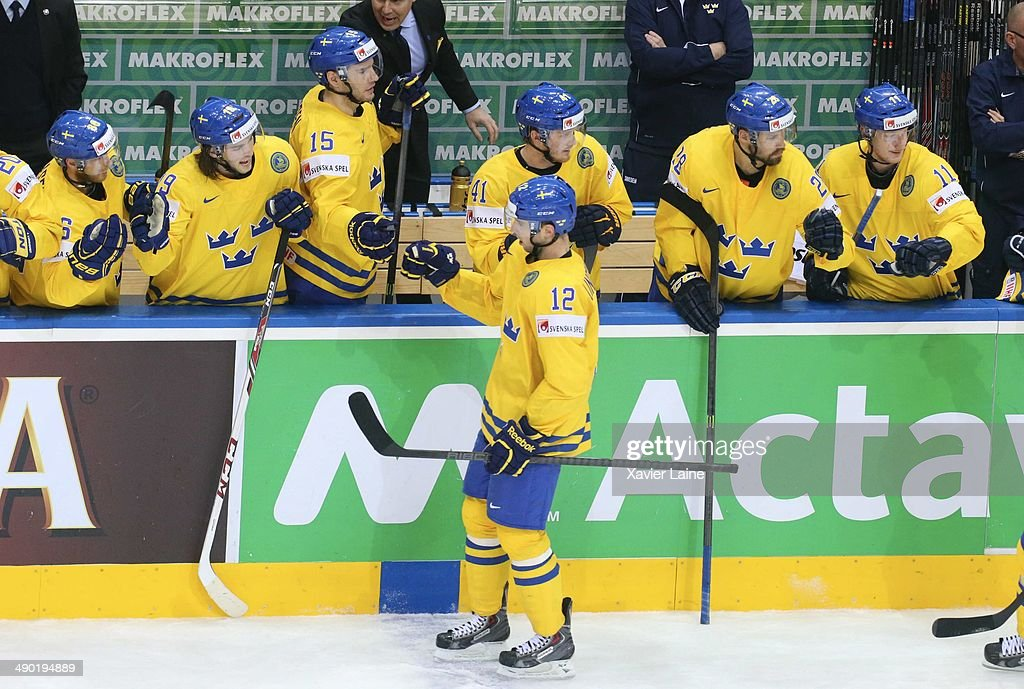 Joakim Lindstrom of Sweden celebrate his goal with team matte during the 2014 IIHF World Championship between Sweden and Norway at Chizhovka arena on May 13, 2014 in Minsk, Belarus.