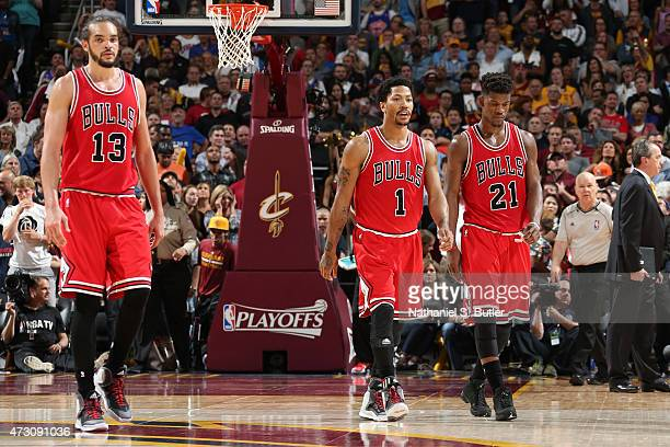 Joakim Noah Derrick Rose and Jimmy Butler of the Chicago Bulls during the game against the Cleveland Cavaliers in Game Five of the Eastern Conference...