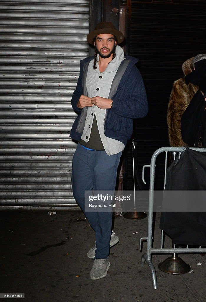 Joakim Noah is seen coming out of Club Up and Down at 3am in the morning on February 14, 2016 in New York City.