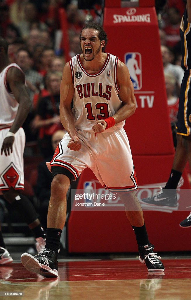 Joakim Noah #13 of the Chicago Bulls celebrates a play against the Indiana Pacers in Game Two of the Eastern Conference Quarterfinals in the 2011 NBA Playoffs at the United Center on April 18, 2011 in Chicago, Illinois. The Bulls defeated the Pacers 96-90.