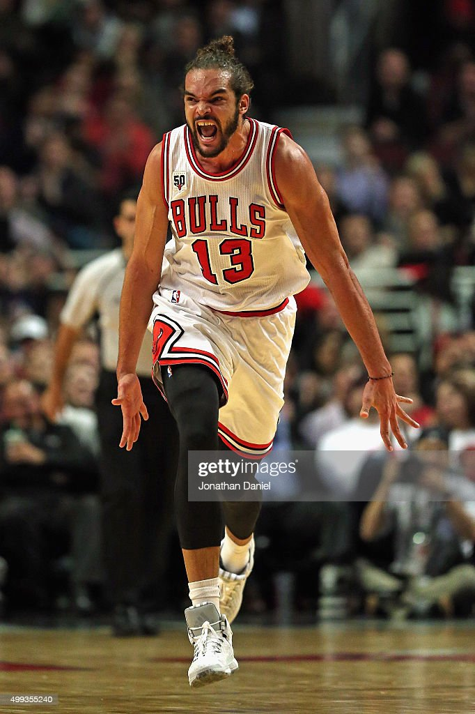 <a gi-track='captionPersonalityLinkClicked' href=/galleries/search?phrase=Joakim+Noah&family=editorial&specificpeople=699038 ng-click='$event.stopPropagation()'>Joakim Noah</a> #13 of the Chicago Bulls celebrates hitting a shot against the San Antonio Spurs at the United Center on November 30, 2015 in Chicago, Illinois. The Bulls defeated the Spurs 92-89. Note to User: User expressly acknowledges and agrees that, by downloading and or using the photograph, User is consenting to the terms and conditions of the Getty Images License Agreement.