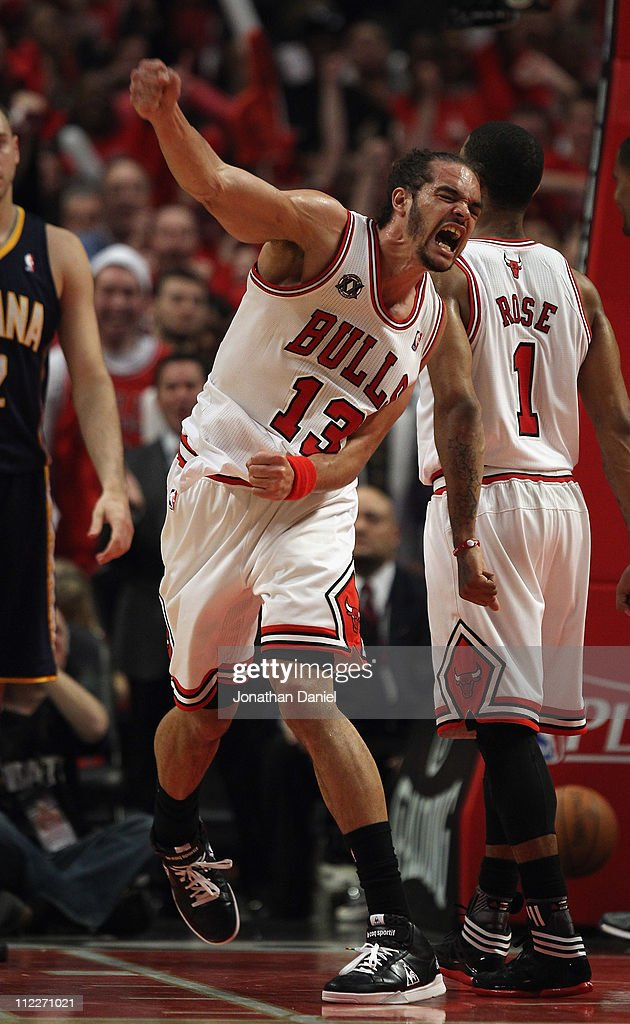 Joakim Noah #13 of the Chicago Bulls celebrates two blocked shots in the final seconds against the Indiana Pacers in Game One of the Eastern Conference Quarterfinals in the 2011 NBA Playoffs at the United Center on April 16, 2011 in Chicago, Illinois. The Bulls defeated the Pacers 104-99.