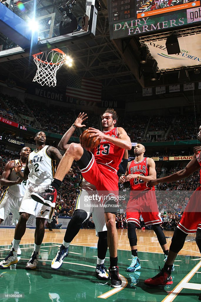 <a gi-track='captionPersonalityLinkClicked' href=/galleries/search?phrase=Joakim+Noah&family=editorial&specificpeople=699038 ng-click='$event.stopPropagation()'>Joakim Noah</a> #13 of the Chicago Bulls drives to the basket against <a gi-track='captionPersonalityLinkClicked' href=/galleries/search?phrase=Marvin+Williams&family=editorial&specificpeople=206784 ng-click='$event.stopPropagation()'>Marvin Williams</a> #2 of the Utah Jazz at Energy Solutions Arena on February 08, 2013 in Salt Lake City, Utah.