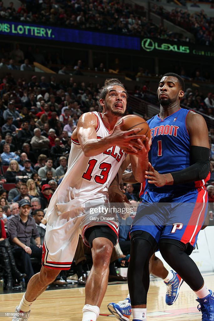 Joakim Noah #13 of the Chicago Bulls drives to the basket against the Detroit Pistons on January 23, 2012 at the United Center in Chicago, Illinois.