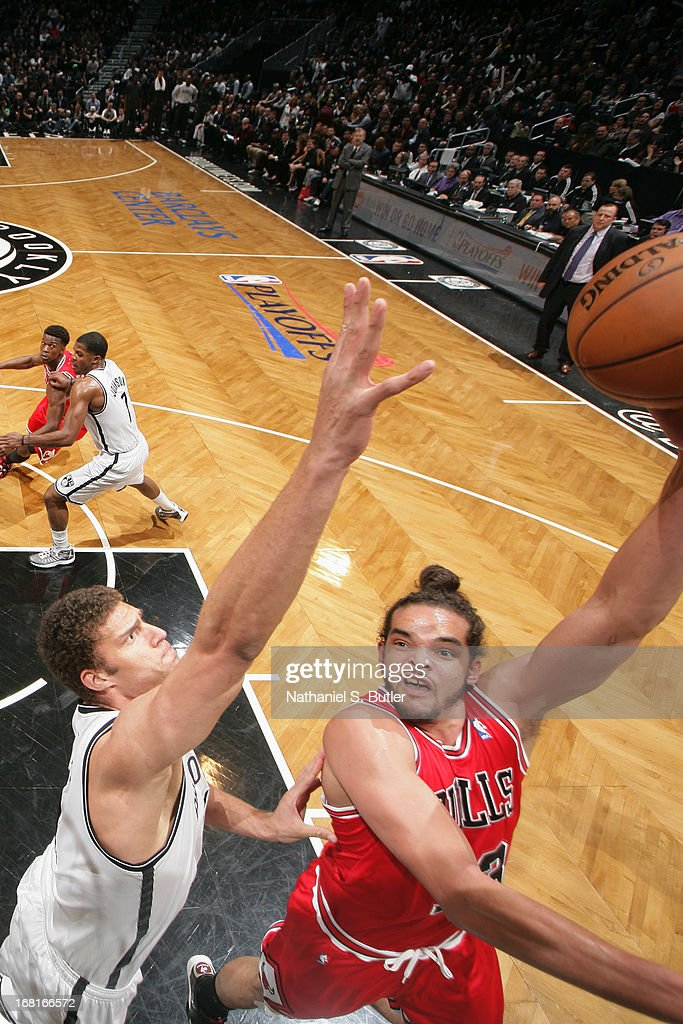 Joakim Noah #13 of the Chicago Bulls drives to the basket against the Brooklyn Nets during the Game Seven of the Eastern Conference Quarterfinals during the 2013 NBA Playoffs at the Barclays Center on May 4, 2013 in the Brooklyn borough of New York City.