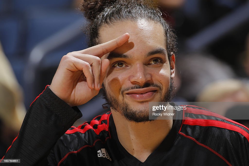 Joakim Noah #13 of the Chicago Bulls during a game against the Golden State Warriors on March 15, 2013 at Oracle Arena in Oakland, California.