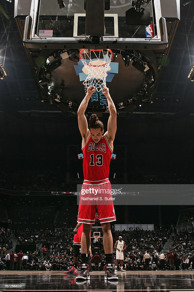 <a gi-track='captionPersonalityLinkClicked' href=/galleries/search?phrase=Joakim+Noah&family=editorial&specificpeople=699038 ng-click='$event.stopPropagation()'>Joakim Noah</a> #13 of the Chicago Bulls during the game against the Brooklyn Nets in Game Two of the Eastern Conference Quarterfinals during the 2013 NBA Playoffs on April 22 at the Barclays Center in the Brooklyn borough of New York City.