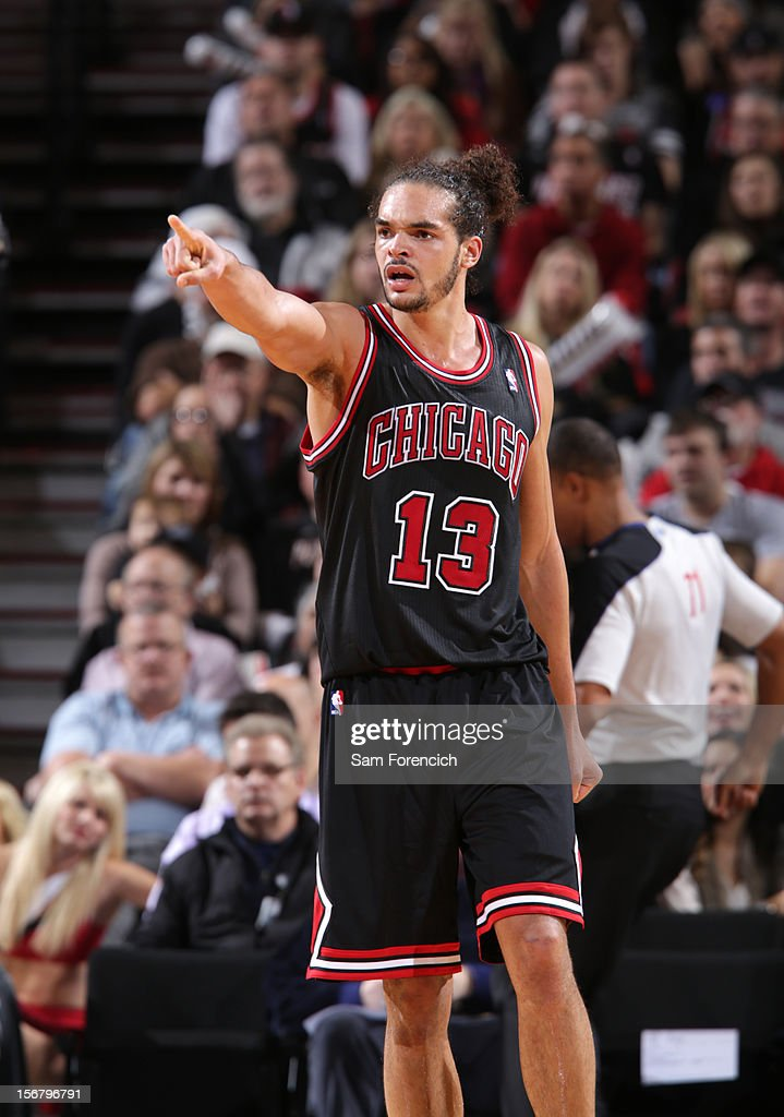 Joakim Noah #13 of the Chicago Bulls during the game against the Portland Trail Blazers on November 18, 2012 at the Rose Garden Arena in Portland, Oregon.