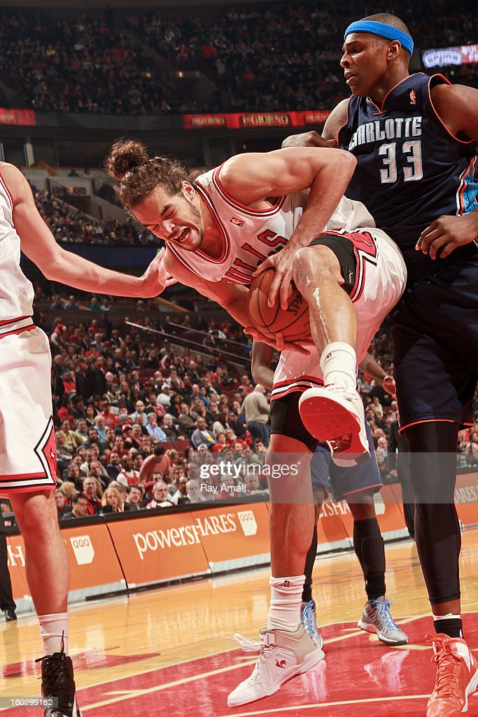 <a gi-track='captionPersonalityLinkClicked' href=/galleries/search?phrase=Joakim+Noah&family=editorial&specificpeople=699038 ng-click='$event.stopPropagation()'>Joakim Noah</a> #13 of the Chicago Bulls grabs a rebound against <a gi-track='captionPersonalityLinkClicked' href=/galleries/search?phrase=Brendan+Haywood&family=editorial&specificpeople=202010 ng-click='$event.stopPropagation()'>Brendan Haywood</a> #33 of the Charlotte Bobcats on January 28, 2013 at the United Center in Chicago, Illinois.