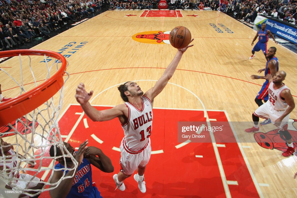 <a gi-track='captionPersonalityLinkClicked' href=/galleries/search?phrase=Joakim+Noah&family=editorial&specificpeople=699038 ng-click='$event.stopPropagation()'>Joakim Noah</a> #13 of the Chicago Bulls grabs a rebound against <a gi-track='captionPersonalityLinkClicked' href=/galleries/search?phrase=Jason+Maxiell&family=editorial&specificpeople=651723 ng-click='$event.stopPropagation()'>Jason Maxiell</a> #54 of the Detroit Pistons on January 23, 2012 at the United Center in Chicago, Illinois.