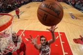 Joakim Noah of the Chicago Bulls grabs a rebound against the Washington Wizards in Game 5 of the Eastern Conference Quarterfinals in the 2014 NBA...