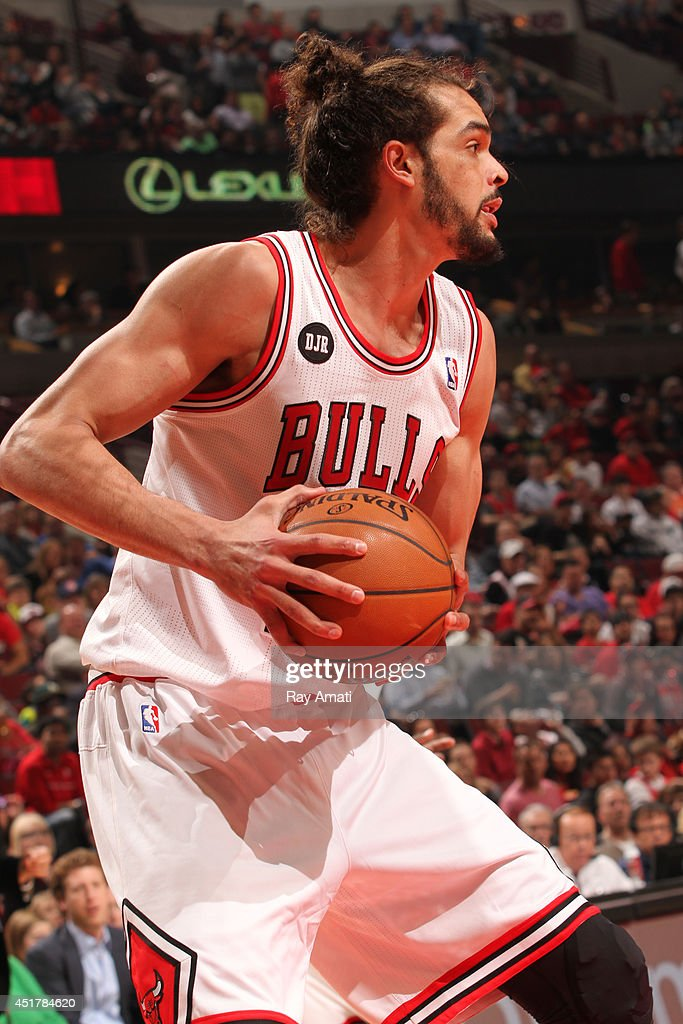 <a gi-track='captionPersonalityLinkClicked' href=/galleries/search?phrase=Joakim+Noah&family=editorial&specificpeople=699038 ng-click='$event.stopPropagation()'>Joakim Noah</a> #13 of the Chicago Bulls handles the ball against the Detroit Pistons on April 11, 2014 at the United Center in Chicago, Illinois.