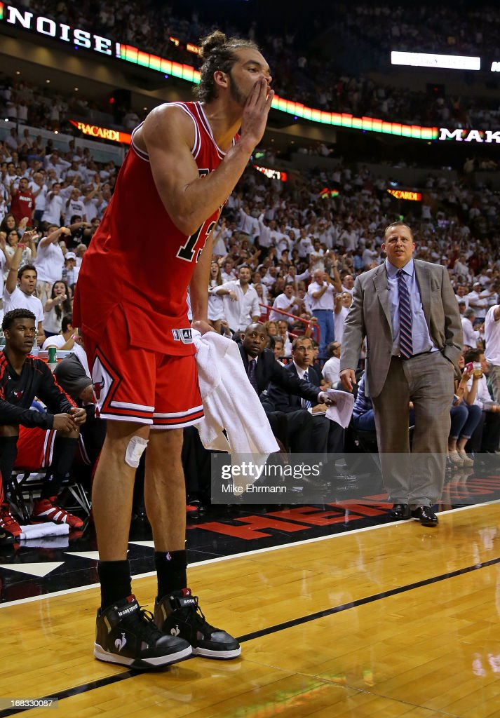 Joakim Noah #13 of the Chicago Bulls is ejected after arguing with referee Scott Foster #48 during Game Two of the Eastern Conference Semifinals of the 2013 NBA Playoffs against the Miami Heat at American Airlines Arena on May 8, 2013 in Miami, Florida.
