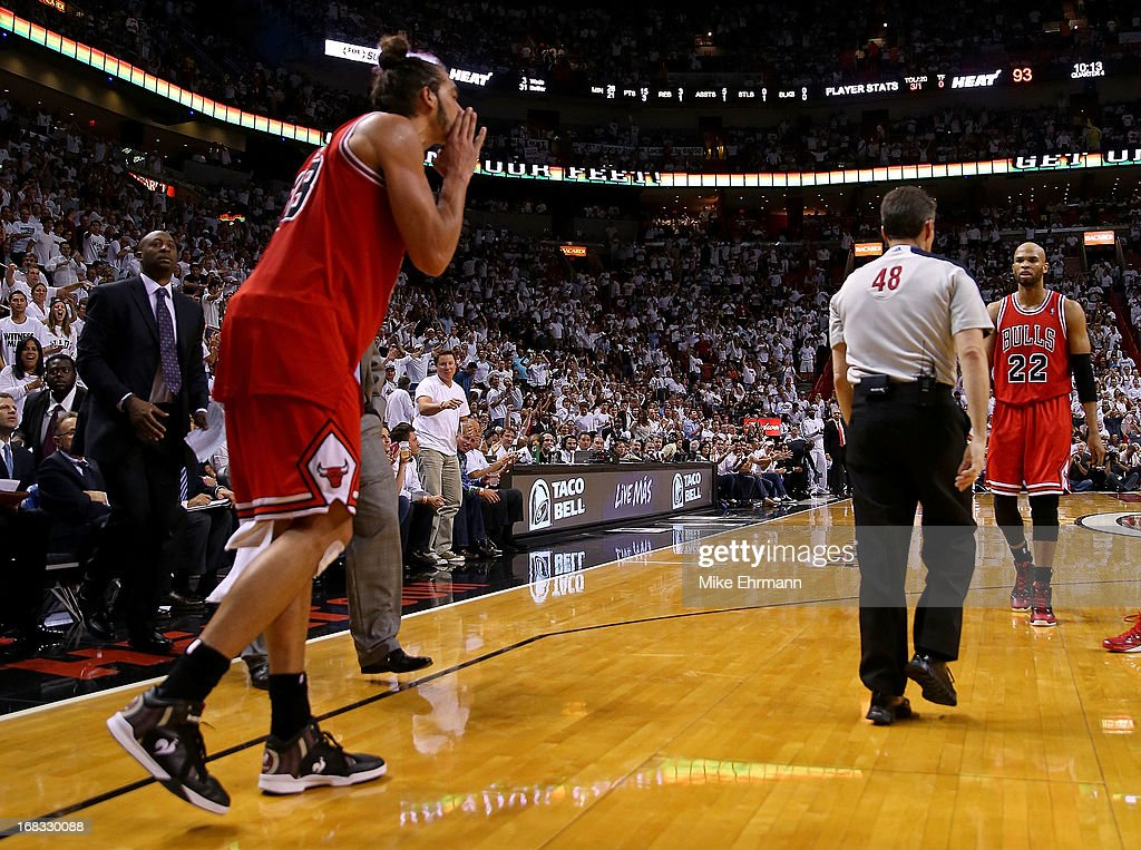 Joakim Noah of the Chicago Bulls is ejected after arguing with referee Scott Foster during Game Two of the Eastern Conference Semifinals of the 2013...