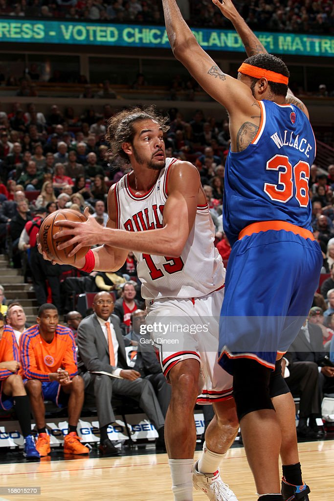 Joakim Noah #13 of the Chicago Bulls is guarded by Rasheed Wallace #36 of the New York Knicks on December 8, 2012 at the United Center in Chicago, Illinois.