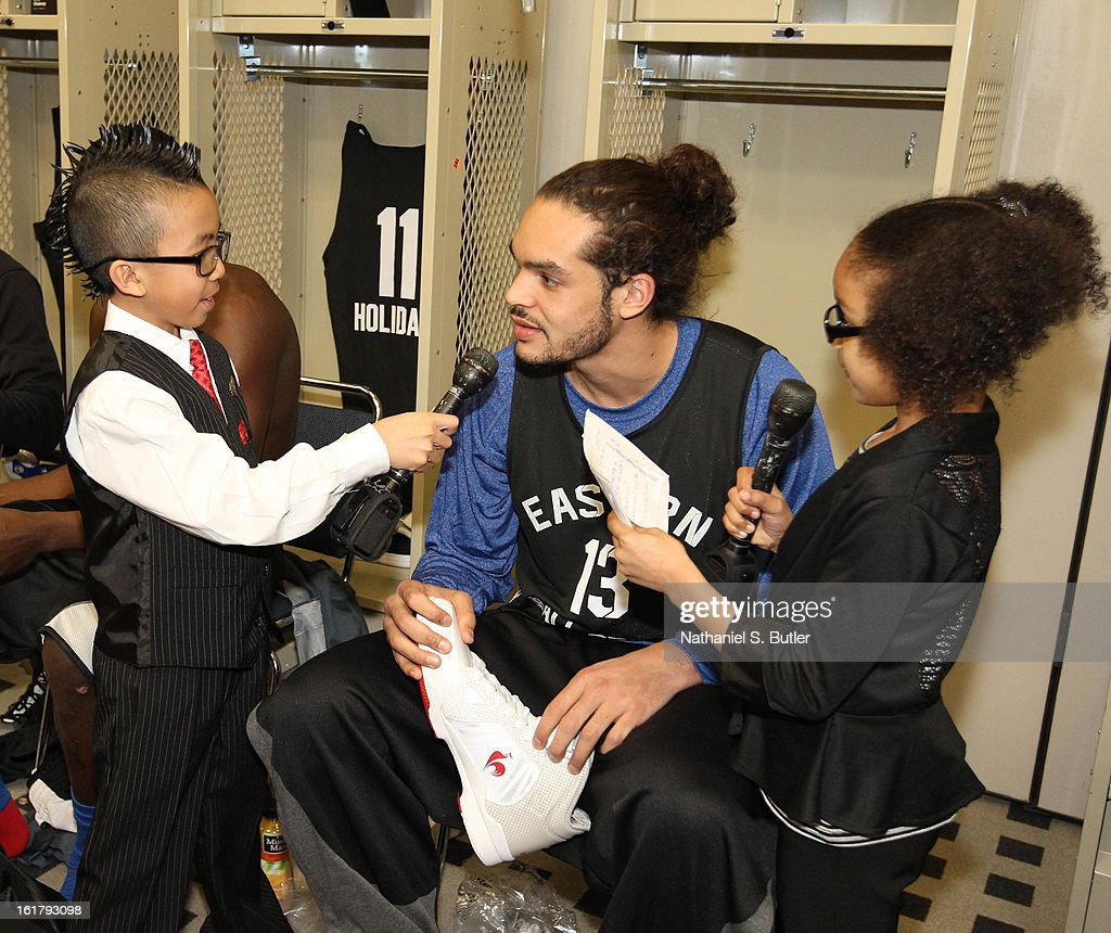 Joakim Noah of the Chicago Bulls is interviewed during the NBA All-Star Practice in Sprint Arena at Jam Session at Jam Session during NBA All Star Weekend on February 16, 2013 at the George R. Brown Convention Center in Houston, Texas.