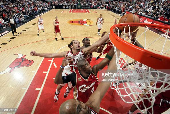 Joakim Noah of the Chicago Bulls jumps for a rebound against Antawn Jamison of the Cleveland Cavaliers on April 8 2010 at the United Center in...