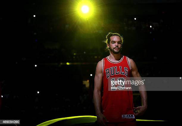 Joakim Noah of the Chicago Bulls looks on during a game against the Miami Heat at American Airlines Arena on April 9 2015 in Miami Florida NOTE TO...