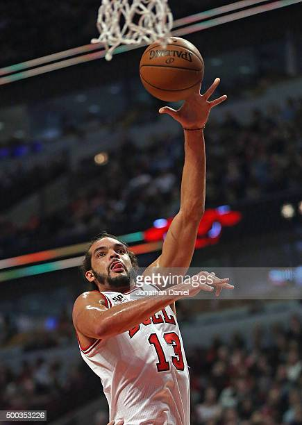 Joakim Noah of the Chicago Bulls puts up a shot against the Phoenix Suns at the United Center on December 7 2015 in Chicago Illinois NOTE TO USER...