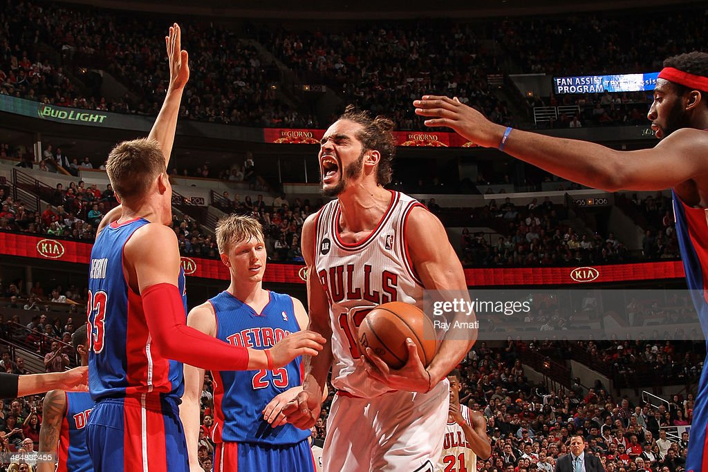 Joakim Noah #13 of the Chicago Bulls reacts after drawing a foul against the Detroit Pistons on April 11, 2014 at the United Center in Chicago, Illinois.