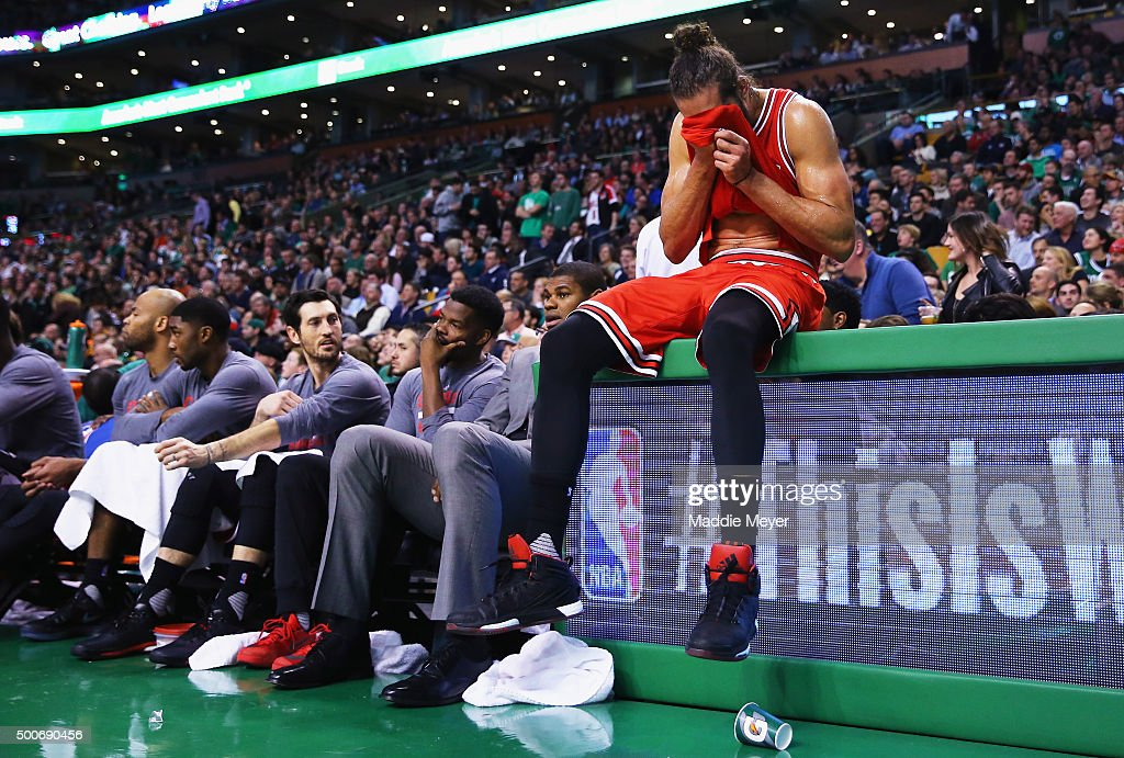 Joakim Noah #13 of the Chicago Bulls reacts next to the bench during the fourth quarter against the Boston Celtics at TD Garden on December 9, 2015 in Boston, Massachusetts. The Celtics defeat the Bulls 105-100.