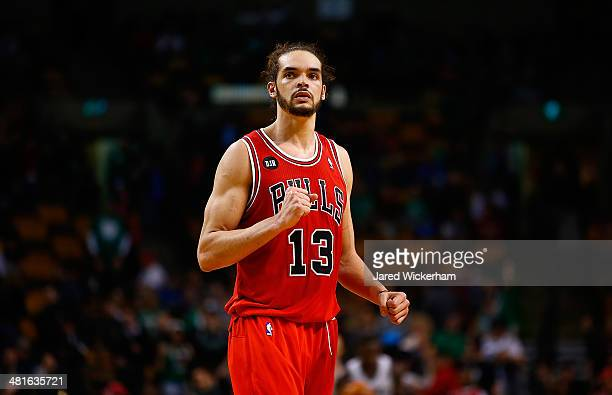 Joakim Noah of the Chicago Bulls reacts to their win in the final seconds of the fourth quarter against the Boston Celtics during the game at TD...