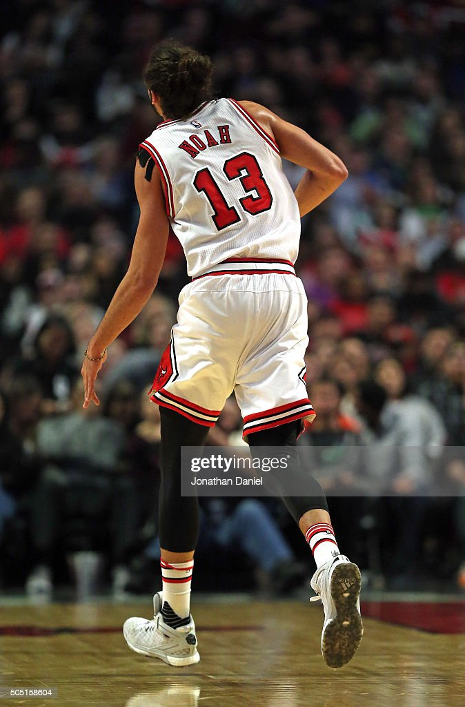 <a gi-track='captionPersonalityLinkClicked' href=/galleries/search?phrase=Joakim+Noah&family=editorial&specificpeople=699038 ng-click='$event.stopPropagation()'>Joakim Noah</a> #13 of the Chicago Bulls runs off of the court after dislocating his left shoulder against the Dallas Mavericks at the United Center on January 15, 2016 in Chicago, Illinois.