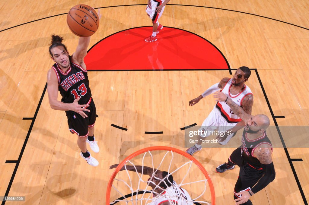 Joakim Noah #13 of the Chicago Bulls shoots the ball against the Portland Trail Blazers on November 18, 2012 at the Rose Garden Arena in Portland, Oregon.