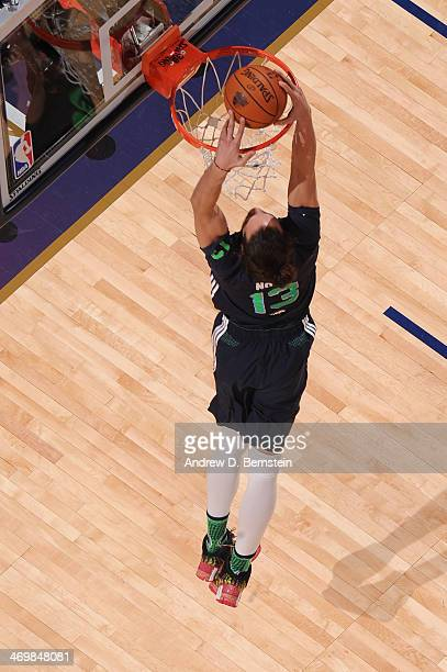 Joakim Noah of the Eastern Conference AllStars dunks during the 2014 NBA AllStar Game as part of the 2014 AllStar Weekend at Smoothie King Center on...