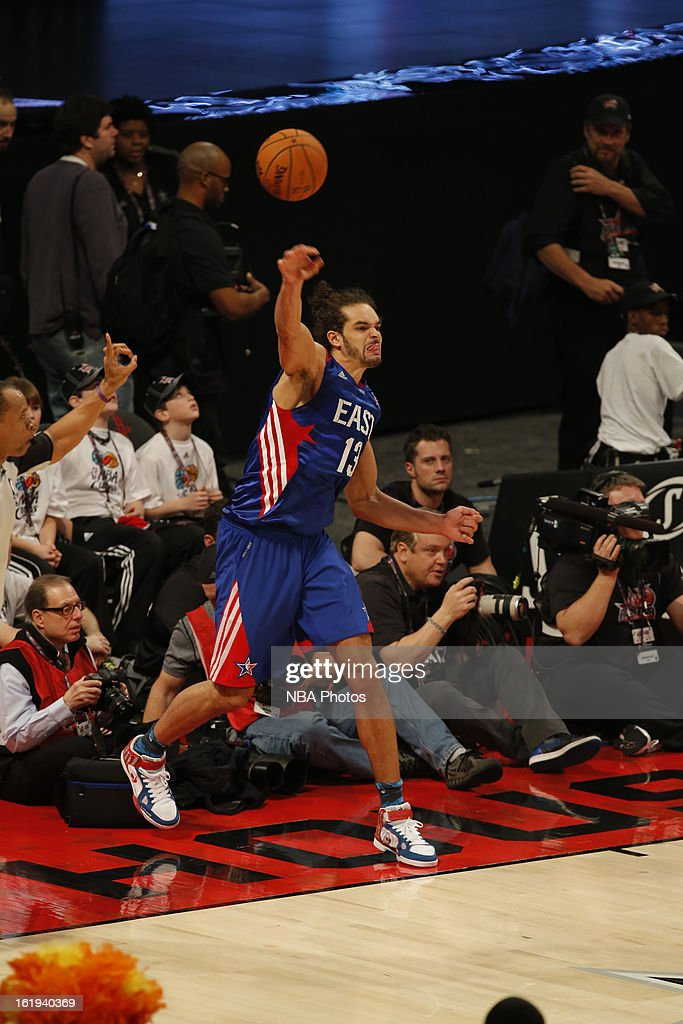 Joakim Noah #13 of the Eastern Conference All-Stars inbounds the ball against the Western Conference All-Stars during 2013 NBA All-Star Game on February 17, 2013 at Toyota Center in Houston, Texas.