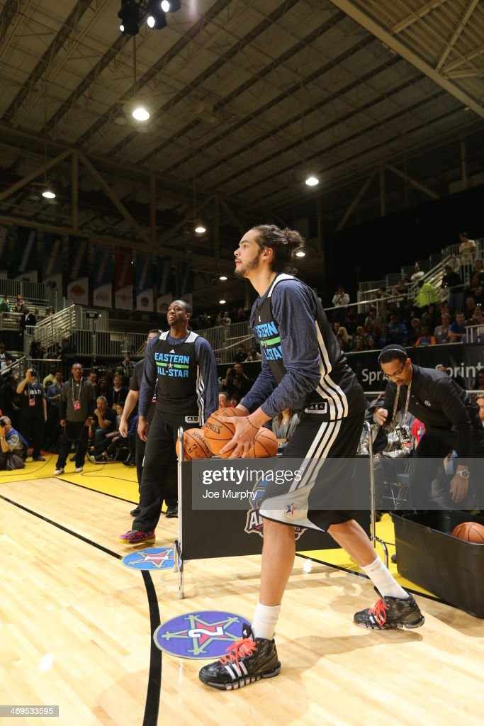 <a gi-track='captionPersonalityLinkClicked' href=/galleries/search?phrase=Joakim+Noah&family=editorial&specificpeople=699038 ng-click='$event.stopPropagation()'>Joakim Noah</a> #13 of the Eastern Conference All-Stars participates in the NBA All-Star Practices at Sprint Arena as part of 2014 NBA All-Star Weekend at the Ernest N. Morial Convention Center on February 15, 2014 in New Orleans, Louisiana.