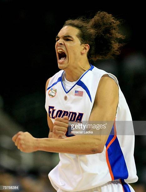 Joakim Noah of the Florida Gators screams during their game against the UCLA Bruins during the National Semifinal game of the NCAA Men's Final Four...