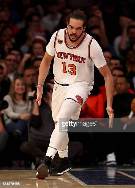 Joakim Noah of the New York Knicks celebrates in the fourth quarter against the Chicago Bulls at Madison Square Garden on January 12 2017 in New York...
