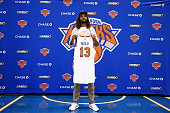 Joakim Noah of the New York Knicks poses for a photo during a press conference at the Madison Square Garden Training Facility on July 8 2016 in...