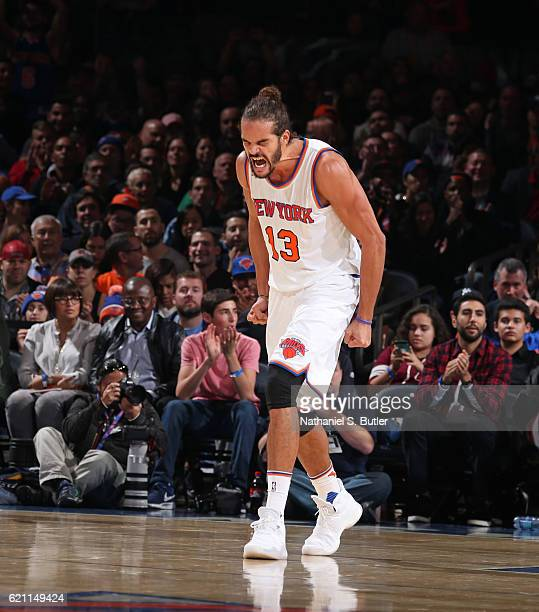 Joakim Noah of the New York Knicks yells and shows emotion during the game against the Memphis Grizzlies on October 29 2016 at Madison Square Garden...