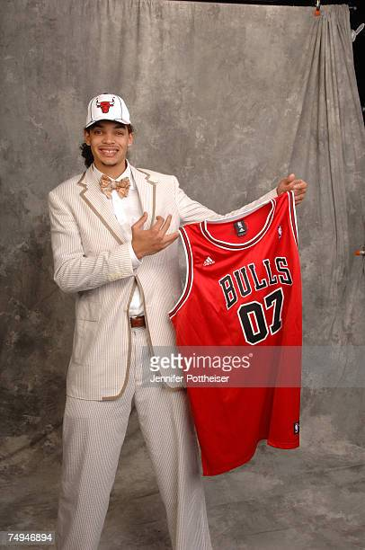 Joakim Noah selected ninth overall by the Chicago Bulls poses for a portrait backstage during the 2007 NBA Draft on June 28 2007 at The WaMu Theatre...